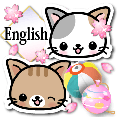Japanese Style Cat Sticker ( English )