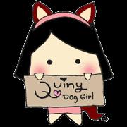 สติ๊กเกอร์ไลน์ Quiny Dog Girl