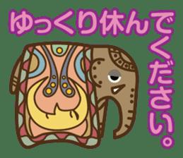 Ethnic Elephant and the sun. sticker #6865472
