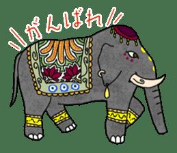 Ethnic Elephant and the sun. sticker #6865480