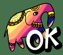 Ethnic Elephant and the sun. sticker #6865483