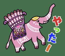 Ethnic Elephant and the sun. sticker #6865484