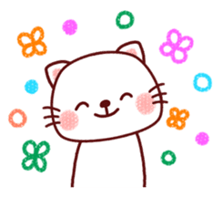 White cat and friends. sticker #6866048