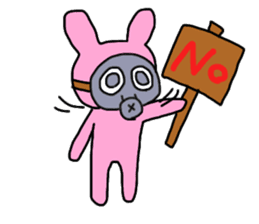 Rabbit and Gas mask sticker #6899079