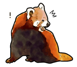 Watercolor red panda sticker sticker #6913737