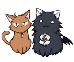 Tsundere cat and devil cat sticker #6934286