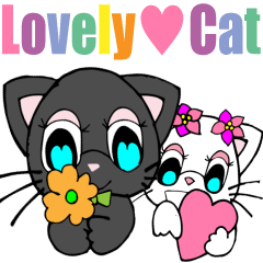Lovely Cat 1 White cat and Black cat Eng