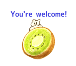 A cute(kawaii) dog and fruits (English) sticker #6997012