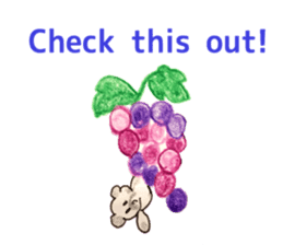 A cute(kawaii) dog and fruits (English) sticker #6997016