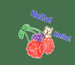 A cute(kawaii) dog and fruits (English) sticker #6997020