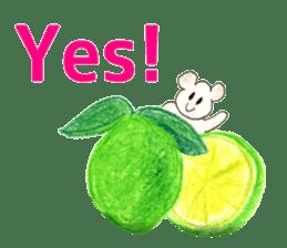 A cute(kawaii) dog and fruits (English) sticker #6997021