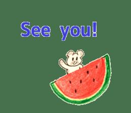A cute(kawaii) dog and fruits (English) sticker #6997031