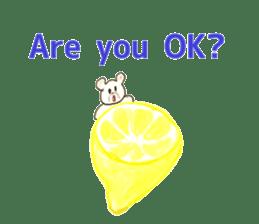 A cute(kawaii) dog and fruits (English) sticker #6997032