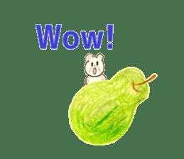A cute(kawaii) dog and fruits (English) sticker #6997033