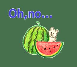 A cute(kawaii) dog and fruits (English) sticker #6997034