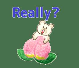 A cute(kawaii) dog and fruits (English) sticker #6997036