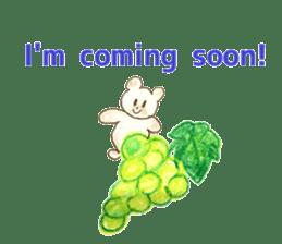 A cute(kawaii) dog and fruits (English) sticker #6997039
