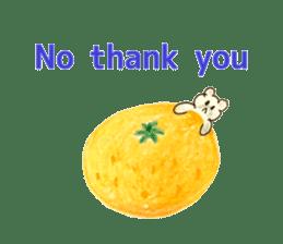 A cute(kawaii) dog and fruits (English) sticker #6997040