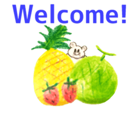 A cute(kawaii) dog and fruits (English) sticker #6997042