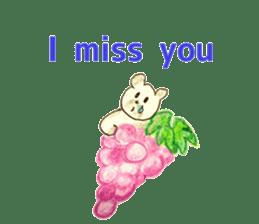 A cute(kawaii) dog and fruits (English) sticker #6997043