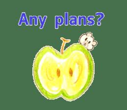 A cute(kawaii) dog and fruits (English) sticker #6997047