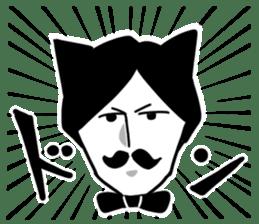 Mustache Cat man sticker #7014480