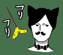 Mustache Cat man sticker #7014481