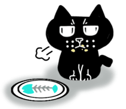 Nono of an expressionless black cat. sticker #7056185