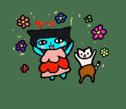 Lovely light blue cat sticker #7067835