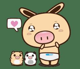 Pig Bunny Baby & Pig Bear III(True love) sticker #7094605