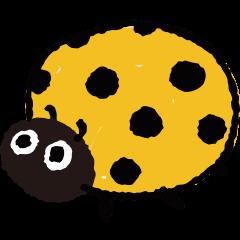 Happy yellow ladybug