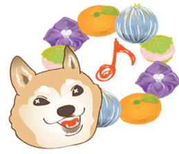 Japanese confectionery and Shiba Inu. sticker #7114128