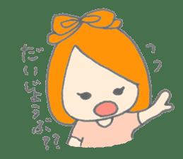 Cute girl with Orange hair sticker #7197050