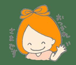 Cute girl with Orange hair sticker #7197055