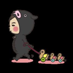 baby wear in black pig