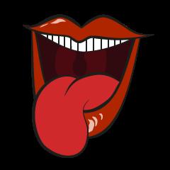 Comic cartoon-style women's lips