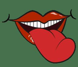 Comic cartoon-style women's lips sticker #7343126