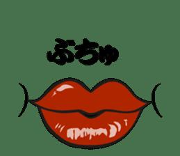 Comic cartoon-style women's lips sticker #7343130
