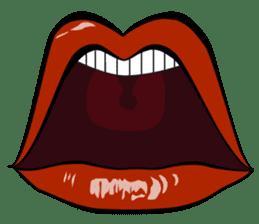 Comic cartoon-style women's lips sticker #7343131