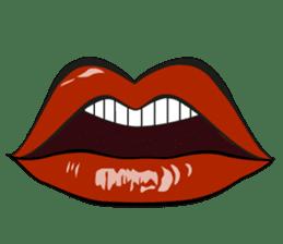 Comic cartoon-style women's lips sticker #7343136