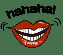 Comic cartoon-style women's lips sticker #7343139
