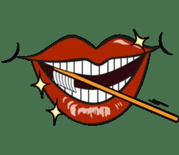 Comic cartoon-style women's lips sticker #7343151