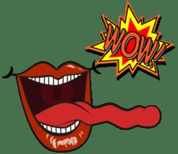 Comic cartoon-style women's lips sticker #7343153