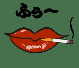 Comic cartoon-style women's lips sticker #7343158