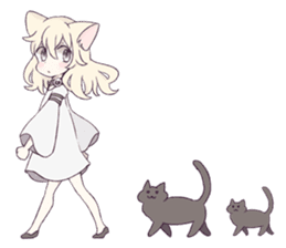 White Cat Girl sticker #7376461