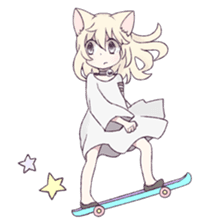 White Cat Girl sticker #7376486