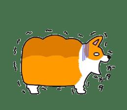 Sticker of Corgi of white bread. sticker #7391219