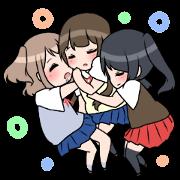 สติ๊กเกอร์ไลน์ Three high school girls
