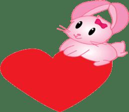 pink bunny cute sticker #7553814