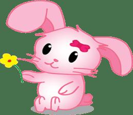 pink bunny cute sticker #7553822